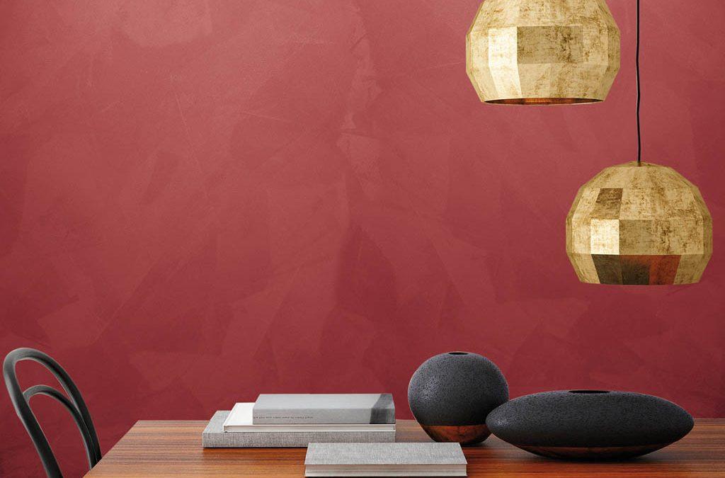 L'eleganza dell'effetto stucco si arricchisce di preziosi bagliori metallici. Imprevedibili riflessi luminosi creano ambienti raffinati e unici.